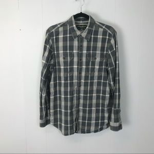 Eddie Bauer classic fit mens gray flannel shirt M